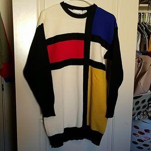 Vintage Melbourne elements wool colorblock sweater